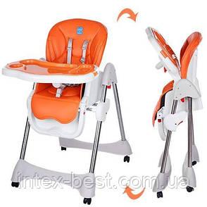 Стульчик для кормления Bambi Оранжевый (M 3216-2-7) на колесиках, фото 2
