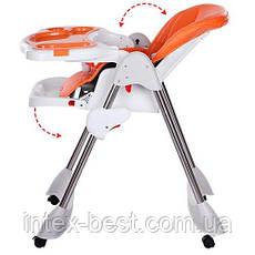 Стульчик для кормления Bambi Оранжевый (M 3216-2-7) на колесиках, фото 3