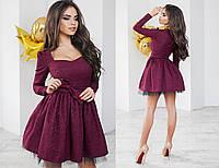 Эксклюзивное платье из жаккарда с пышной юбкой.  Разные цвета.