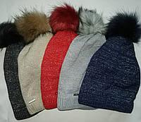Детская красная зимняя шапка на флисе 52-54р
