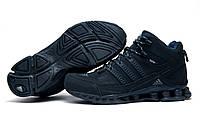 Зимние мужские кроссовки Adidas Terrex, темно-синие, на меху, р. 42