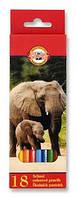 Карандаши цветные Koh-i-Noor Зоопарк 3553 (18 цветов)