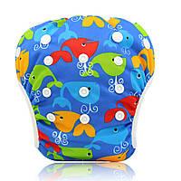 """Подгузник трусики многоразовый детский для плаванья, бассейна, моря """"Киты"""""""