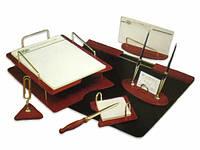 Набор настольный из дерева, 7 предметов с 2 ручками 7S-1A, коричневое дерево