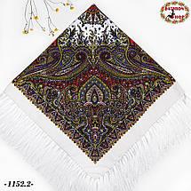 Белый павлопосадский шерстяной платок Восточная сказка, фото 3