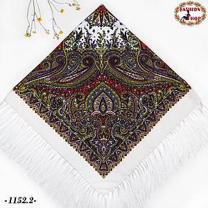 Белый павлопосадский шерстяной платок Восточная сказка