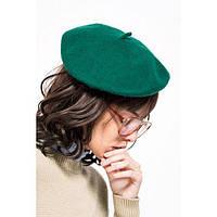 Модный женский шерстяной берет зеленого цвета