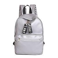 Женский рюкзак экокожа цвет серебро большой