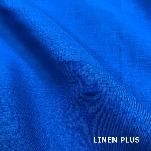 Синяя льняная ткань, цвет 425