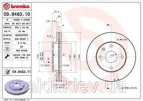 Тормозной диск Шевроле Лачетти BREMBO 09.9483.10