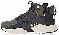 Мужские зимние кроссовки Nike Huarache Acronym Concept Olive высокие Найк Аир Хуарачи Акроним зимние