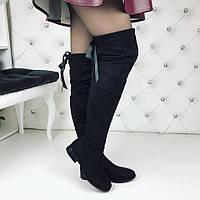 Женские зимние чёрные ботфорты замшевые Бантик