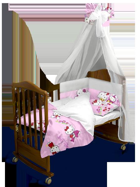 """Детский постельный комплект с балдахином """"Hello Kitty"""" 120*60 см"""