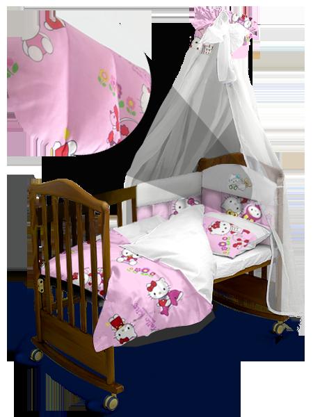 """Детский постельный комплект с балдахином """"Hello Kitty"""" Premium 120*60 см"""