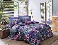 ТАС Digital Daphne lacivert семейный комплект постельного белья