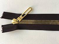 Застежка молния RIRI TOP6E метал полированная зубья золото 70 см брелок Golf тесьма темно-коричн. разъемная
