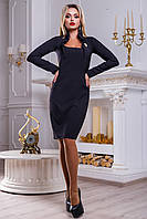 Облегающее нарядное платье из костюмной ткани, чёрное, размер 48