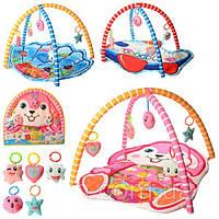 Детский развивающий коврик для младенца 518-19 с мягкими дугами, 3 вида: 5 подвесок в комплекте