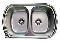 Кухонная стальная мойка (77*49*18 cм) Galati Vayorika 2C Satin 8489, фото 1