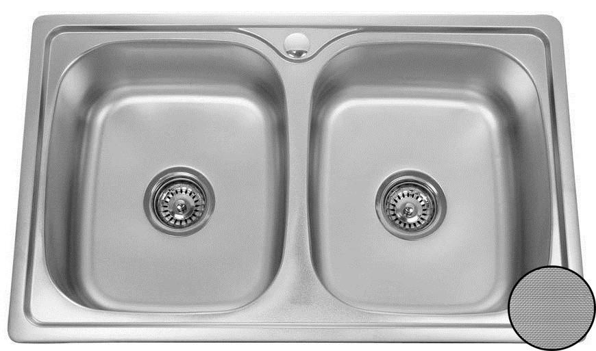 Кухонная стальная мойка (78*48*18 cм) Galati Fifika 2C Textură 4016