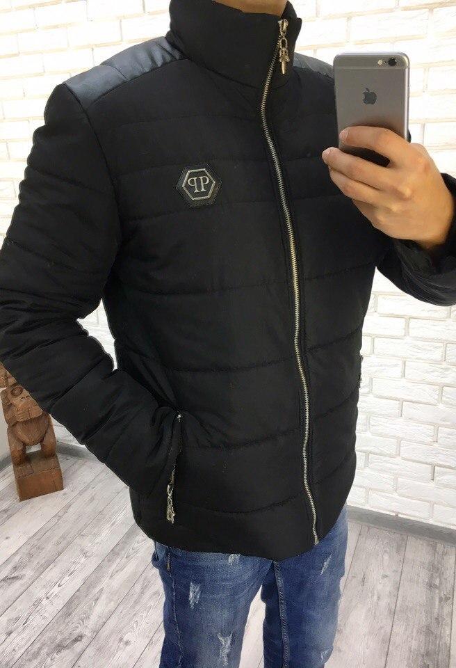 e6a7ed65eac Зимняя мужская куртка со вставками с кожзама