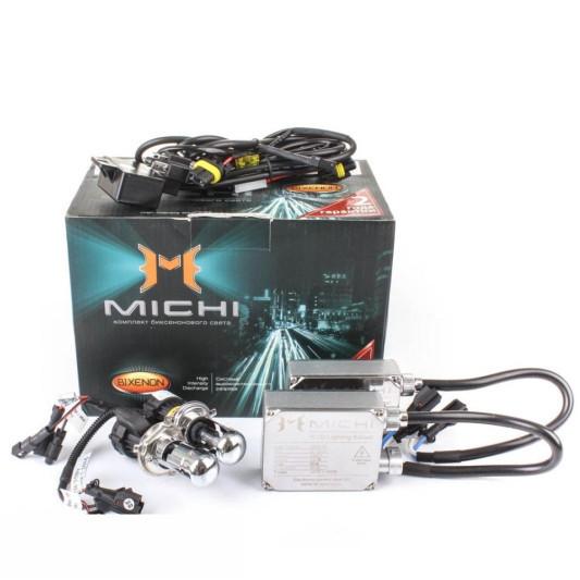 Комплект ксенонового света (биксенон) Michi H4 (ближний/дальний свет)  6000K 35W Цвет голубой