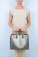 Кожаная сумка-шоппер квадратная на коротких ручках