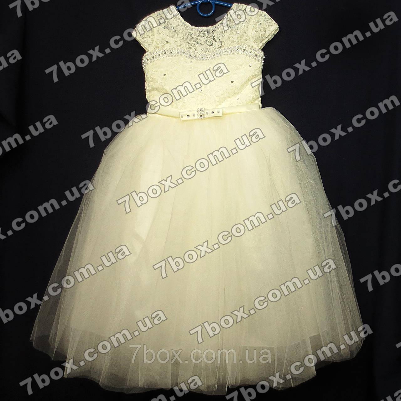 Детское нарядное платье бальное Бэль (молочное) Возраст 6-7 лет.