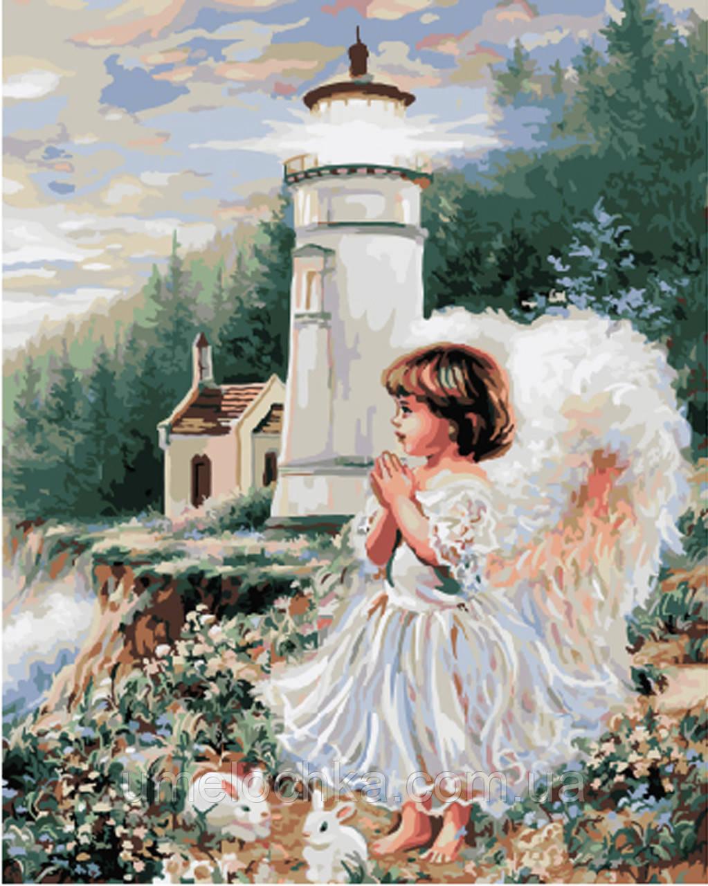 Картина раскраска по номерам без коробки Ангел у маяка (BK-GX8490) 40 х 50 см