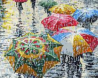 Живопись по номерам без коробки Разноцветные зонты (BK-GX9383) 40 х 50 см