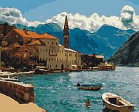 Картина раскраска по номерам без коробки Идейка Побережье Черногории (KHO2229) 40 х 50 см