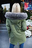 Куртка парка зимняя женская цвета хаки на меху с капюшоном