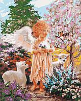 Живопись по номерам без коробки Идейка Ангелок с овечками (KHO2305) 40 х 50 см