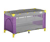Детский менеж-кровать LORELLI ZIPPY 2 LAYER (124х64х72 см) Розовый+серый
