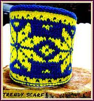 Чехол для чашки. Чашка в одежде. Синий, желтый, звезда, алатырь