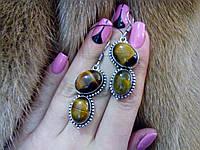 Серьги с тигровым глазом. Красивые серьги с камнем тигровый глаз в серебре., фото 1