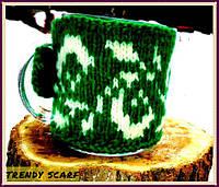 Trendy Cup. Чашка в одежде. зеленый, изумрудный, белый, звезда, цветочный принт, вязь