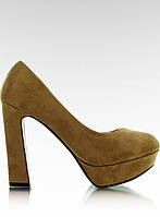 01-04 Светло-коричневые женские туфли-лодочки на платформе J22-1 36