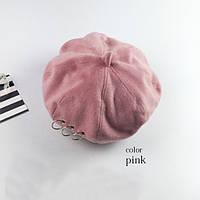 Модный женский берет розового цвета