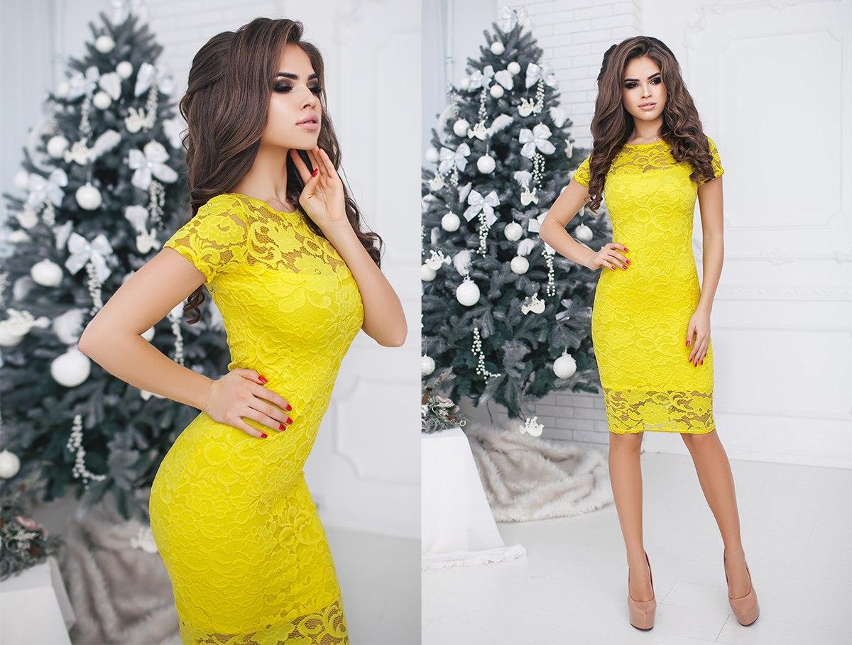 Изящное облегающее гипюровое женское платье
