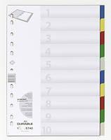 Индекс-разделитель цифровой А4 Durable пластиковый цветной ассорти (6740 27)