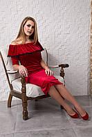 Красивое красное велюровое приталенное платье с рюшей 121-2