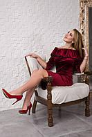 Вечернее велюровое  платье 121-4