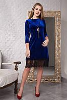 Стильное синее бархатное платье с кулоном 119-3