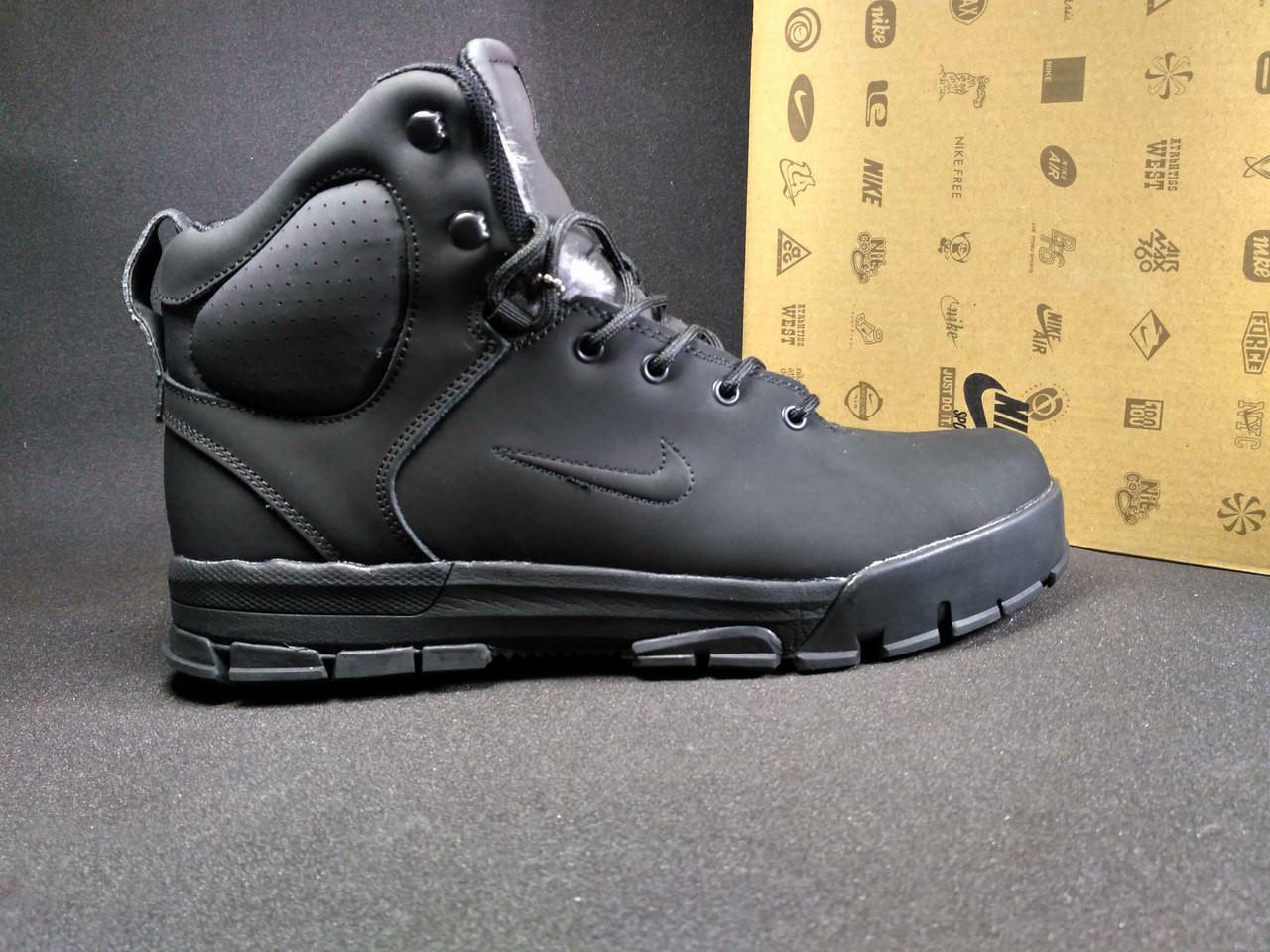 Ботинки Nike мужские на меху (черные), ТОП-реплика