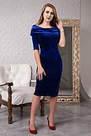 Шикарное велюровое приталенное платье миди 120-3