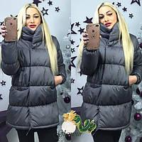 Женская объемная зимняя куртка с воротником - стойкой 97142 графит