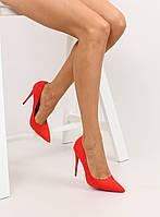 Красные замшевые женские туфли классика 5005 37,36