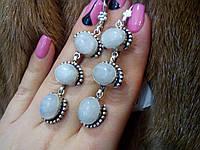 Тройные серьги с лунным камнем в серебре. Серьги с камнем лунным