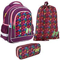 Школьный набор для девочки Рюкзак, сумка для обуви, пенал Kite Catsline 509-1